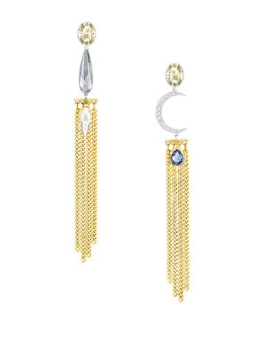 Swarovski Gipsy Crystal Two-Tone Fringed Drop Earrings-GOLD-One Size