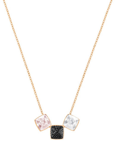 Swarovski Glance Crystal Rose Goldplated Square Pendant Necklace-BLACK-One Size