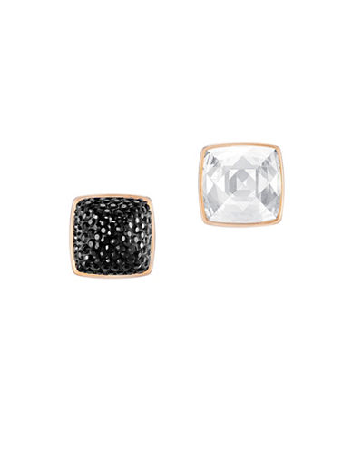 Swarovski Glance Crystals Rose Goldplated Pointiage Stud Earrings-BLACK-One Size