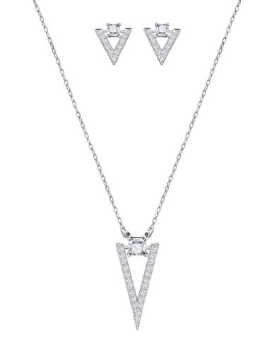 Swarovski Funk Crystal Rhodium-Plated Necklace and Stud Earrings Set-CRYSTAL-One Size