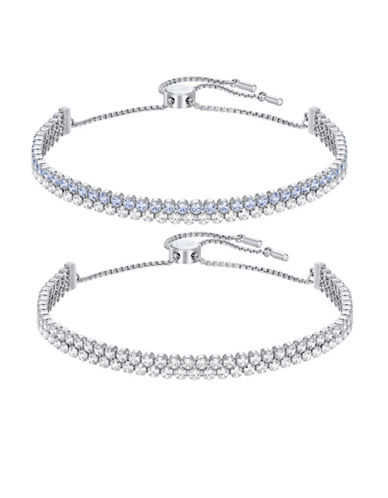 Swarovski Subtle Crystal Rhodium-Plated Bracelet Set-CRYSTAL-One Size