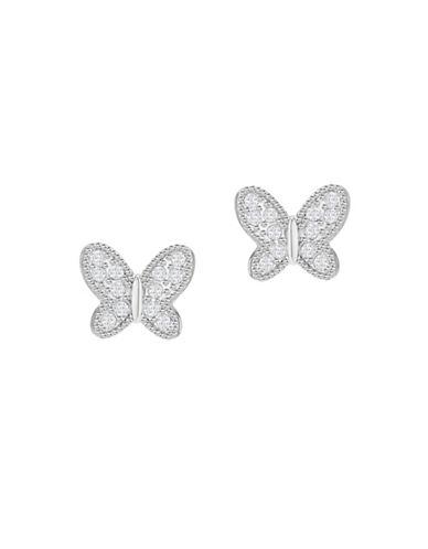 Swarovski Field Crystal Rhodium-Plated Butterfly Stud Earrings-SILVER-One Size