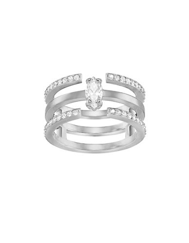 Swarovski Silvertone Stackable-In-One Ring-SILVER-7