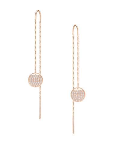 Swarovski Ginger Swarovski Crystal Rose Goldplated Pierced Chain Earrings-ROSE GOLD-One Size