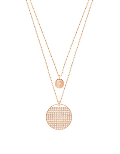 Swarovski Ginger Swarovski Crystal Rose Goldplated Double Strand Chain Pendant Necklace-ROSE GOLD-One Size