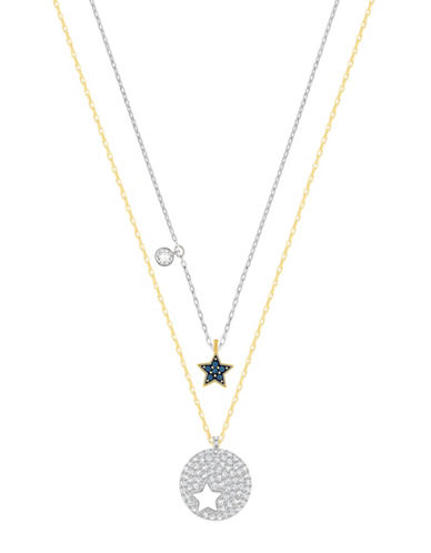 Swarovski Crystal Wishes Goldtone and Silvertone Star Pendant Necklace Set-BLUE-One Size