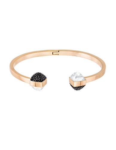 Swarovski Glance Crystal Rose Goldplated Pointiage Hinged Bangle Bracelet-BLACK-One Size