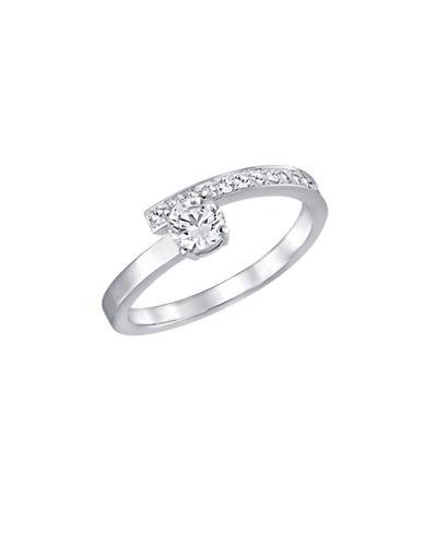 Swarovski Fresh Crystal Rhodium-Plated Ring-WHITE-6