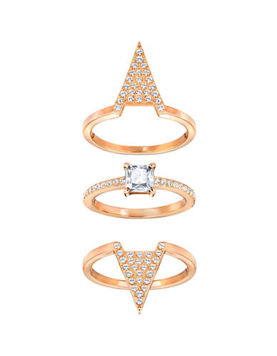 Swarovski Funk Crystal Rose Goldplated Stackable Ring Set-ROSE GOLD-7
