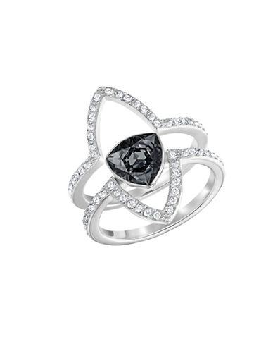 Swarovski Fantastic Crystal and Dark Grey Crystal Rhodium-Plated Ring Set-BLACK-6