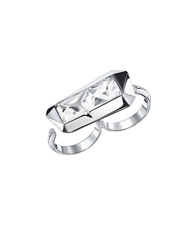 Swarovski Jean Paul Gaultier Crystal Rhodium-Plated Double Reverse Ring-WHITE-6