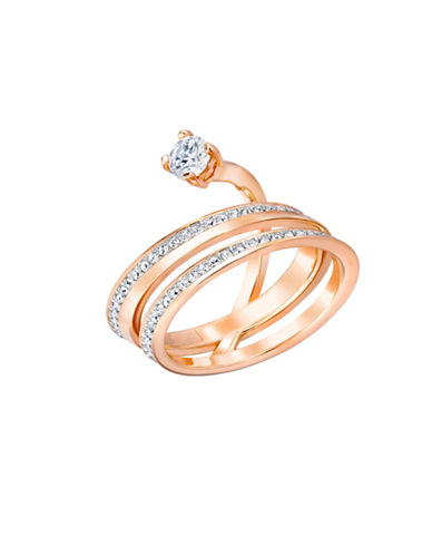 Swarovski Fresh Crystal Rose Goldplated Swirly Ring-ROSE GOLD-8