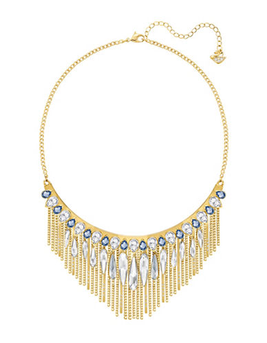 Swarovski Gipsy Crystal Goldplated Layered Fringe Necklace-GOLD-One Size