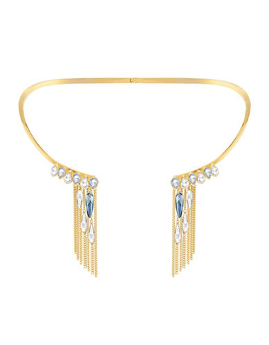 Swarovski Gipsy Crystal Goldplated Fringe Necklace-GOLD-One Size