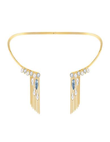 Swarovski Gipsy Crystal Goldplated Fringe Necklace-GOLD-One Size