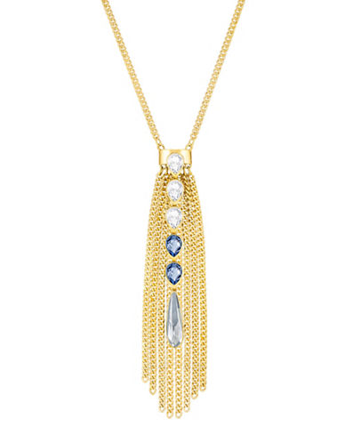 Swarovski Gipsy Crystal Goldplated Fringe Pendant Necklace-GOLD-One Size