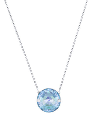 Swarovski Globe Crystal Rhodium-Plated Pendant Necklace-BLUE-One Size