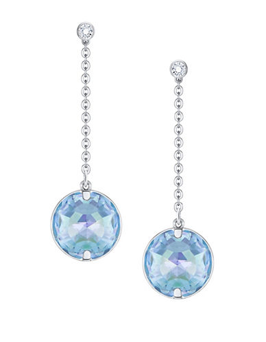 Swarovski Globe Crystal Rhodium-Plated Drop Earrings-BLUE-One Size
