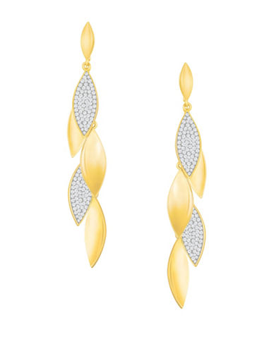 Swarovski Grape Crystal Goldplated Pointiage Long Earrings-GOLD-One Size