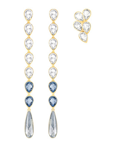 Swarovski Gipsy Crystal Goldplated Earrings Set-BLUE-One Size