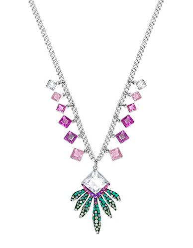 Swarovski Gisele Crystal Palladium-Plated Pointiage Leaf Pendant Necklace-GREEN-One Size