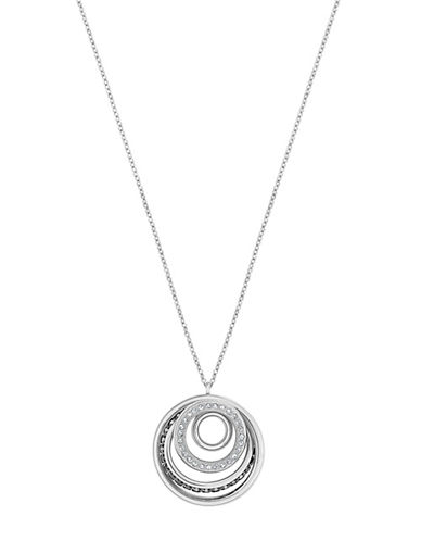 Swarovski Dynamic Crystal Rhodium-Plated Orbital Pendant Necklace-CRYSTAL-One Size
