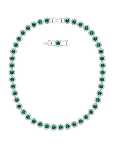 Swarovski Angelic All Round Pave Crystals Rhodium-Plated Necklace-GREEN-One Size