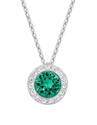 Swarovski Angelic Crystal Rhodium-Plated Pendant Necklace-GREEN-One Size