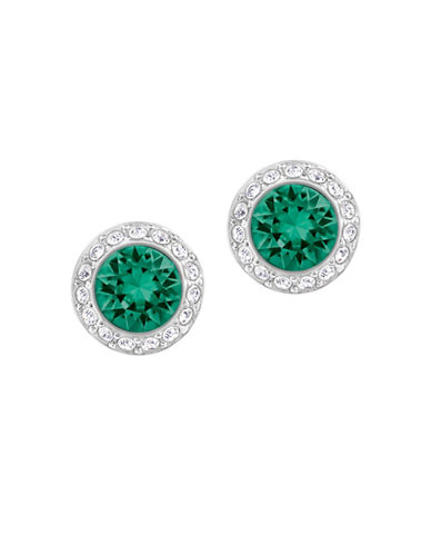Swarovski Angelic Crystal Rhodium-Plated Pierced Stud Earrings-GREEN-One Size