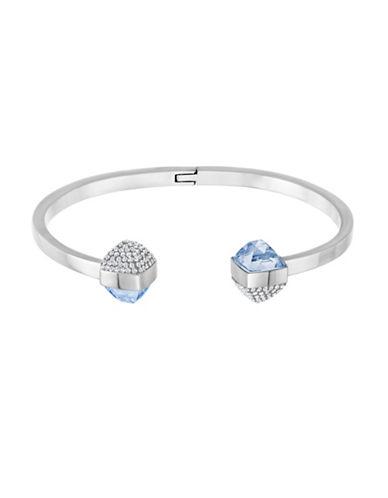 Swarovski Glance Crystal Rhodium-Plated Pointiage Bangle Bracelet-BLUE-One Size