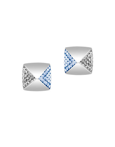 Swarovski Glance Rhodium-Plated Crystal Pointiage Stud Earrings-BLUE-One Size