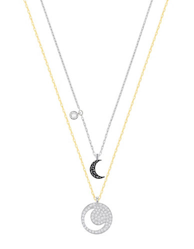 Swarovski Crystal Wishes Crystal Goldtone and Silvertone Moon Pendant Necklace Set-BLACK-One Size