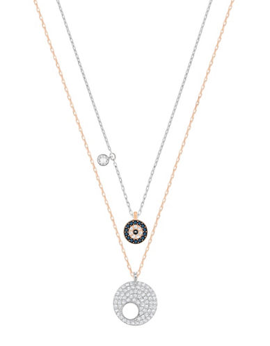 Swarovski Crystal Wishes Crystal Goldtone and Silvertone Evil Eye Pendant Necklace Set-BLUE-One Size