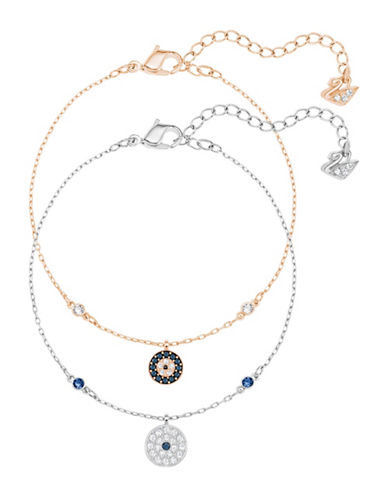 Swarovski Crystal Wishes Goldtone and Silvertone Evil Eye Bracelet Set-BLUE-One Size
