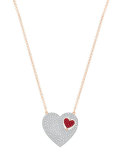 Swarovski Great Crystal Rose Goldplated Heart Necklace-RED-One Size