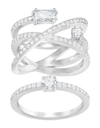 Swarovski Two-Piece Swarovski Crystal Rings Set-SILVER-7