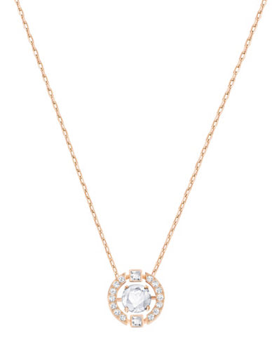 Swarovski Sparkling Dance Crystal Rose Goldplated Round Pendant Necklace-ROSE GOLD-One Size