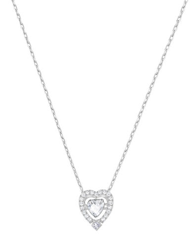 Swarovski Sparkling Dance Crystal Rhodium-Plated Heart Pendant Necklace-SILVER-One Size
