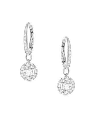 Swarovski Sparkling Dance Crystal Rhodium-Plated Round Earrings-SILVER-One Size