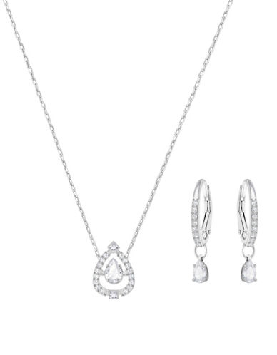 Swarovski Sparkling Dance Crystal Rhodium-Plated Earrings and Pendant Necklace Set-SILVER-One Size