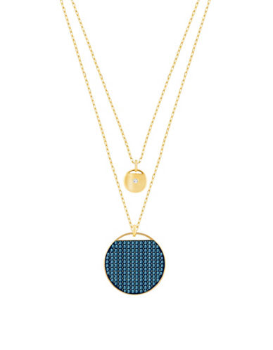 Swarovski Two-Tone Swarovski Crystal Goldplated Layered Pendant Necklace-BLUE-One Size