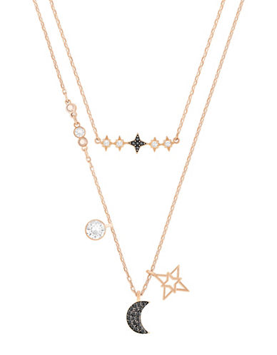 Swarovski Glowing Moon Crystal Rose Goldplated Necklace Set-BLACK-One Size