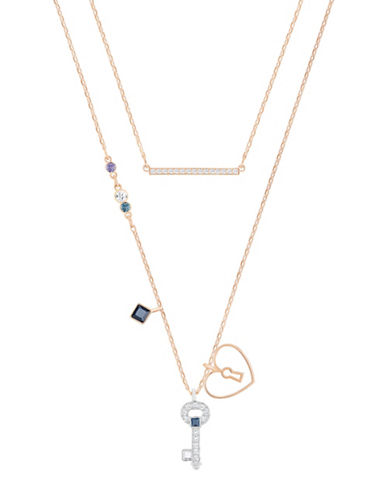 Swarovski Glowing Crystal Rose Goldtone and Silvertone Key Pendant Necklace Set-ROSE GOLD-One Size