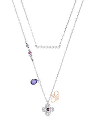 Swarovski Glowing Clover Crystal Two-Tone Pendant Necklace Set-SILVER-One Size