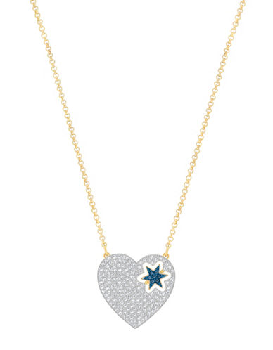 Swarovski Great Start Crystal Goldplated Heart Flip Pendant Necklace-BLUE-One Size
