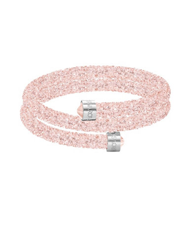 Swarovski Crystaldust Stainless Steel Double Bangle Bracelet-PINK-One Size