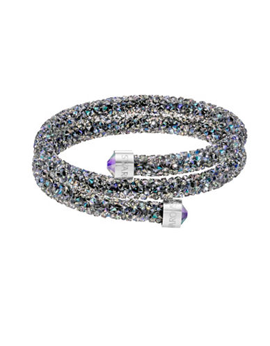 Swarovski Crystaldust Crystal and Stainless Steel Double Bangle-BLACK-One Size
