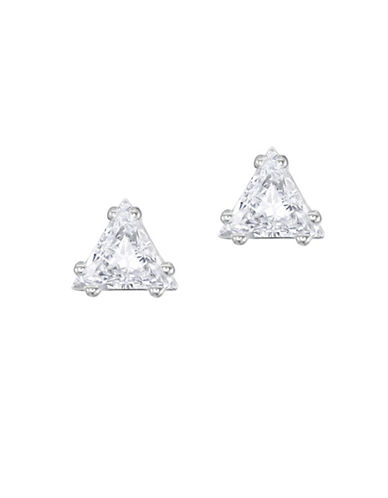 Swarovski Attract Crystal Rhodium-Plated Triangle Stud Earrings-SILVER-One Size