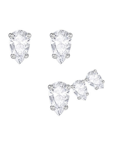 Swarovski Attract Crystal Rhodium-Plated Pear Earring Set-SILVER-One Size