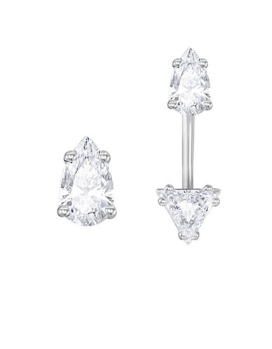 Swarovski Attract Clear Swarovski Crystals Pear-Shaped Studded Earring Jackets-CRYSTAL-One Size